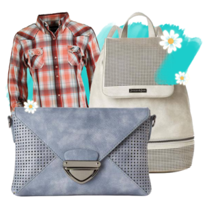 Woms clothing, mens clothing, purses